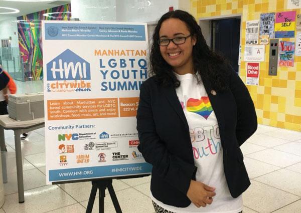 A teen at an LGBTQ Youth Summit