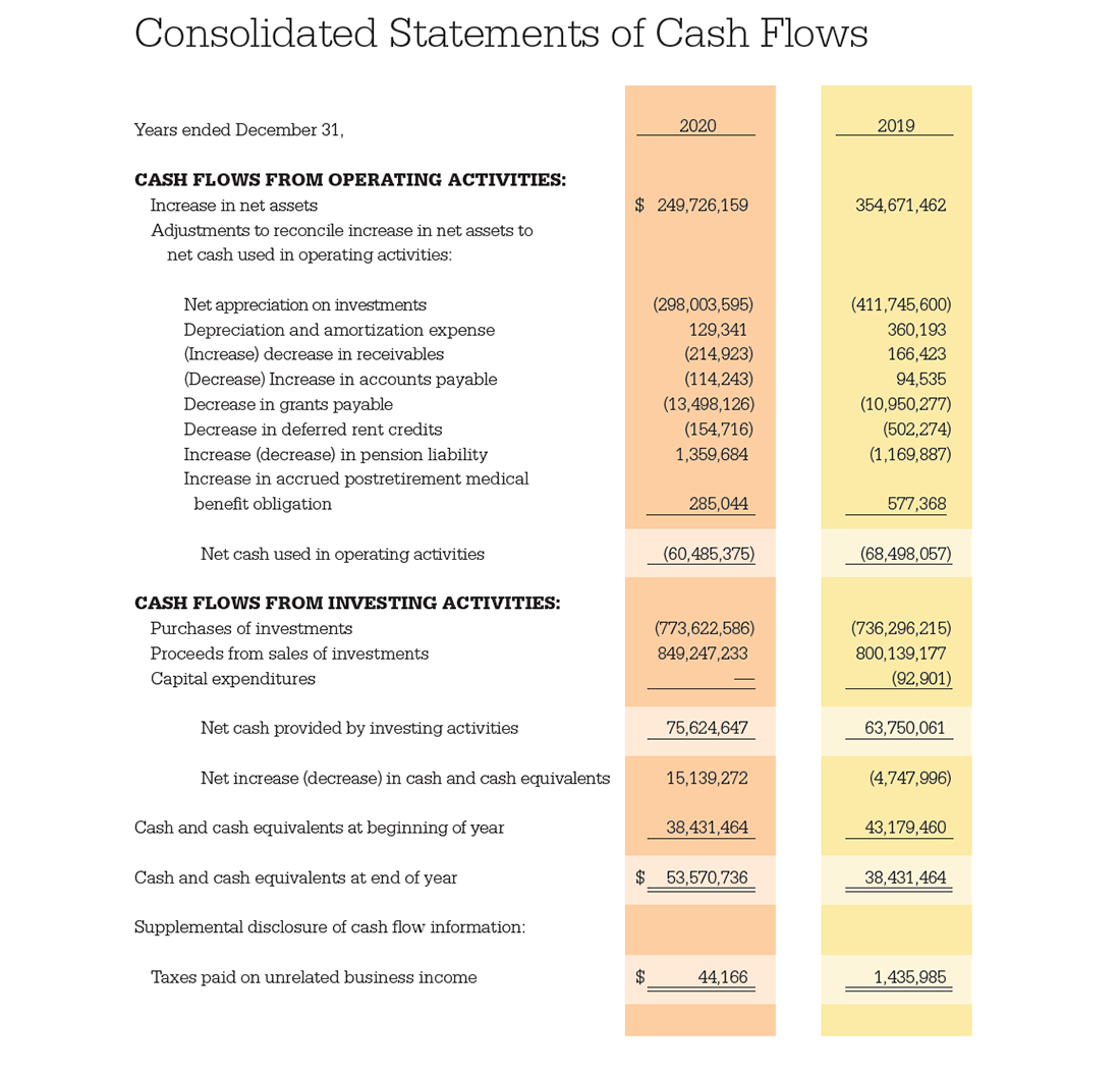 Consolidated Statements of Cash Flows Table